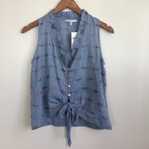 NWT Anthropologie Chambray Tie Front Top
